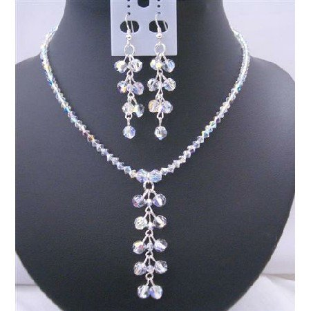 BRD419  AB Crystals Swarovski AB Crystals Danglng Drop Necklace And Earrings Jewelry Set