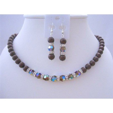 BRD423  Meroon Pearls Jewelry Set w/ Genuine Swarovski Smoked Topaz 2X Crystals Necklace