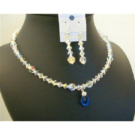 BRD446  AB Swarovski Crystals Jewelry Set Sparkling Genuine AB Swarovski Crystals w/ Sapphire