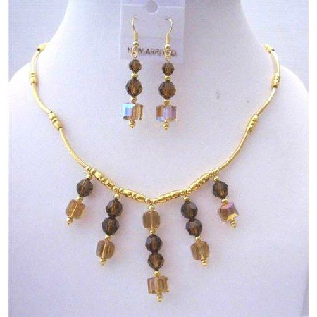 BRD453  Gold Necklace 22k Gold Plated Necklace w/ Genuine Sparkling Swarovski Smoked Topaz