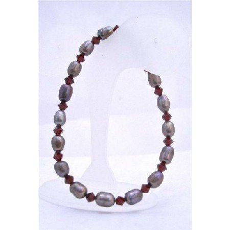 TB621  Natural Metallic Freshwater Pearls w/ Siam Red Swarovski Crystals Stretchable Bracelet
