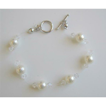 TB597  Clear Crystals & White Pearls Wire Bracelet w/ Toggle Clasp Genuine Swarovski Pearls