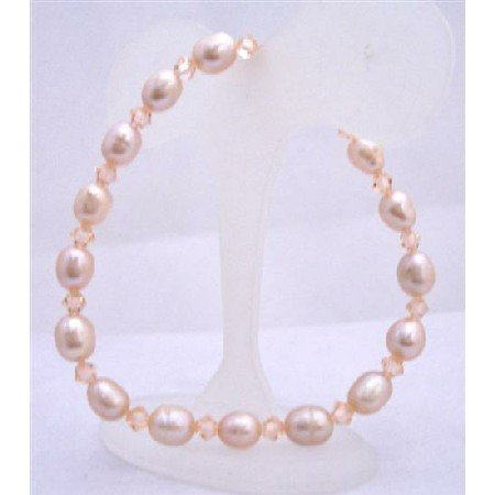 TB625  Peach Freshwater Pearls Peach Swarovski Crystals Stretchable Bracelet Handcrafted Bracelet