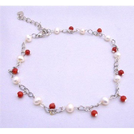 TB634  Red Beads & Freshwater Pearls Bracelet Red & white Bracelet