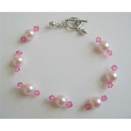 TB598  Rose Pink Swarovski Crystals Pearls Bracelet Swarovski Pearls & Crystals Bracelet