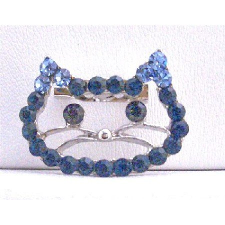 B254  Sapphire Rhinestones Kitty Face Brooch Very Cute Brooch Cute Kitty Brooch