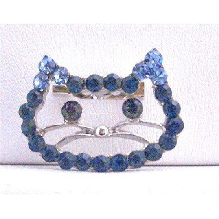 B254  Sapphire Rhinestones Kitty Face Brooch Very Cute Brooch Cute Kitty Brooch