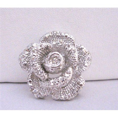 B212  Silver Vintage Rose Brooch Embedded Decorated w/ Cubic Zircon