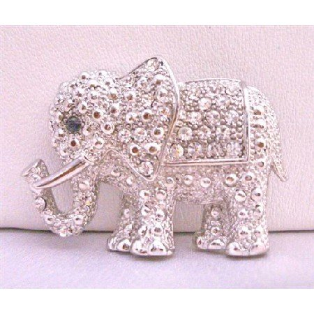 B197  Elephant Brooch Elephant Fully Embedded w/ Cubic Zircon Brooch
