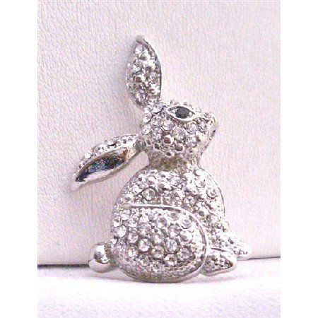B249  Sweet Rabbit Brooch Fully Embedded w/ Cubic Zircon Sparkling Brooch