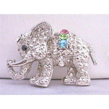 B198  Cute Cubic Zircon Elephant Brooch w/ Multi Colored Cubic Zircon Brooch