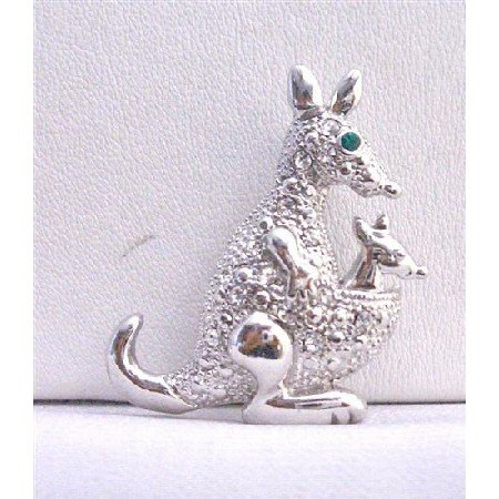 B250  Kangaroo Animal Brooch Silver Casting Fully Embedded w/ Cubic Zircon Brooch