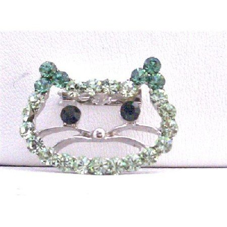 B255  Peridot and olive Rhinestone Brooch Kitty Face Very Cute Brooch
