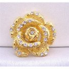 B211  Gold Rose Round Brooch Decorated w/ Cubic Zircon