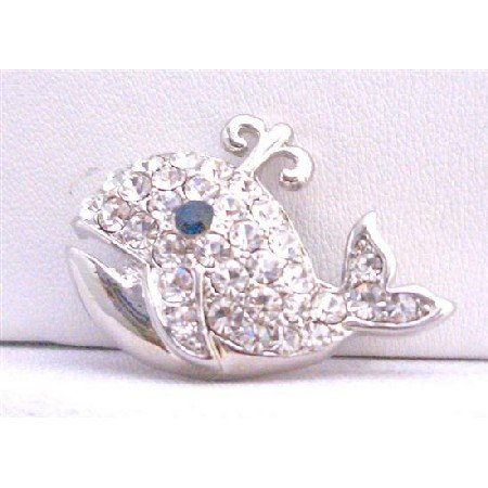 B252  Dolphin Animal Brooch Silver Casting Fully Embedded w/ Cubic Zircon Brooch