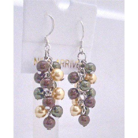 ERC448  Swarovski Pearls Earrings Grape Style Pearls Sterling Silver Earrings