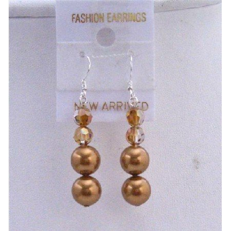 ERC437  Copper Pearls Earrings w/ Swarovski Copper Crystals Genuine Swarovski Pearls & Crystals