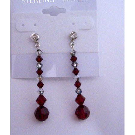 ERC209  Meridian Blue Swarovski Crystals Crystals w/ Dark Siam Red Crystals Siam Red Earrings