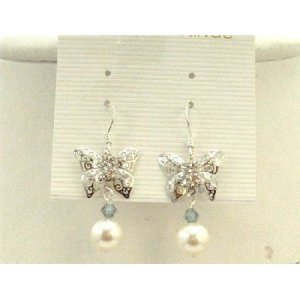 ERC435  Silver Butterfly Earrings w/ White Swarovski Pearls Black Diamond Crystals Earrings