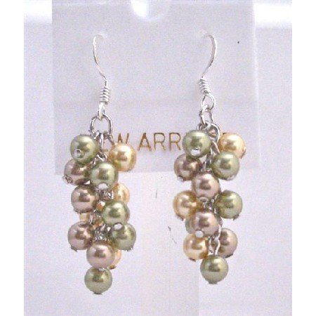 ERC454  Bunch Pearls Earrings Genuine Swarovski Pearls Earrings Sterling Silver Earrings