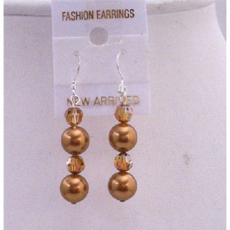 ERC438  Swarovski Copper Crystals & Copper Pearls Earrings Silver 92.5 Earrings