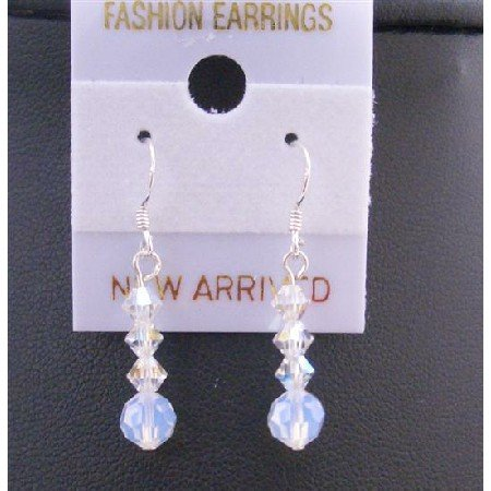 ERC416  White Opal Round Crystals w/ Ab Swarovski Crystals Sterling Silver Hook Earrings
