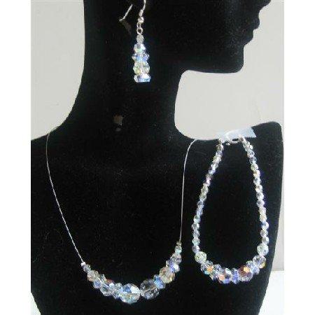BRD565  AB Round Swarovski Crystals Jewelry Set Bridal Jewelry Genuine Swarovski Round AB Crystals