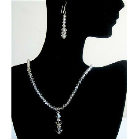 BRD567  Wedding Jewelry Swarovsk Clear Crystals Bridemaides Bridal Jewelry Set w/ Silver Rondells
