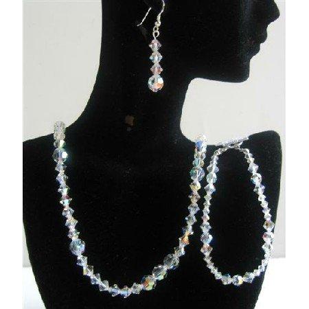 BRD564  Irridiscent Swarovski AB Crystals Jewelry Sets Bridal Jewelry Genuine Swarovski