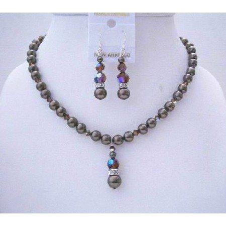 BRD508  Swarovski Dark Brown Crystals & Dark Brown Pearls Handmade Swarovski Pearls & Crystals
