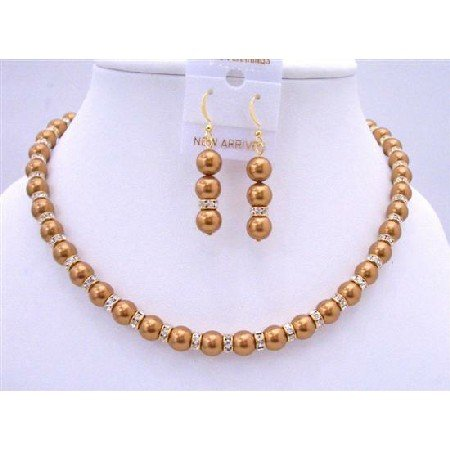 BRD683  Bridal Copper Pearls Jewelry Set w/ Gold Rondells Sparkling Diamond Spacer