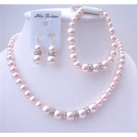 BRD558  Delicate Bridal Wedding Jewelry Soothing Lite Pink Pearls Complete Set