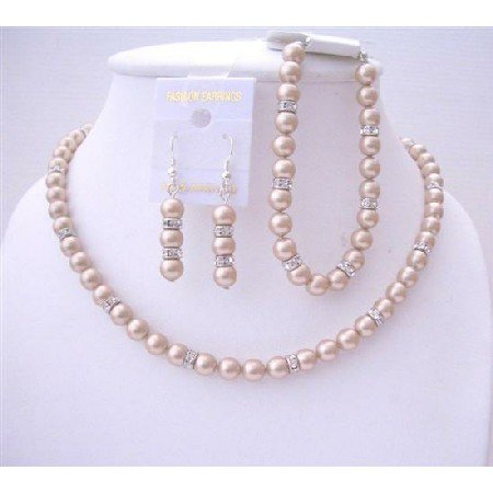 BRD538  Bridal Bridemaides Champagne Pearls Jewelry Sets w/ Simulated Diamond Sparkling Spacer