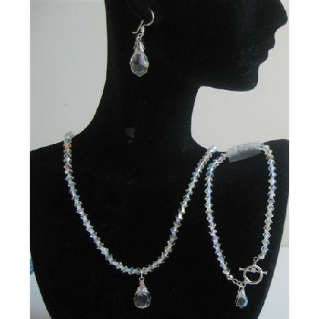 BRD566  Swarovski AB Crystals Wedding Jewelry w/ Teardrop Bridal Bridemaids Genuine Swarovski