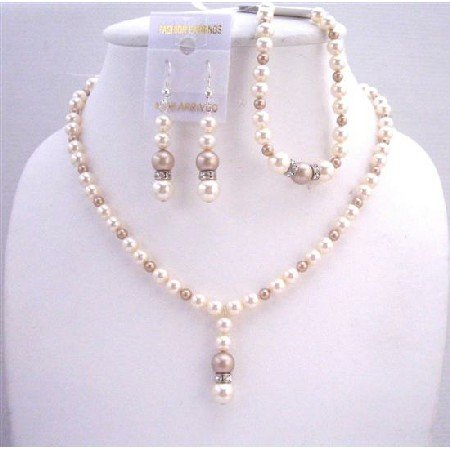 BRD569  Swarovski Ivory And Champagne Pearls Jewelry Sets w/ Bracelet Diamond