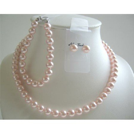 BRD591  Lite Pink Pearls Handcrated Complete Set Bridemaids Jewelry Swarovski Pink Pearls