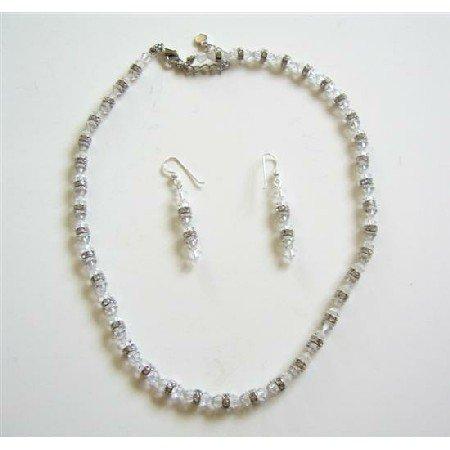 BRD517  Clear Swarovski Crystals Bridal Jewelry Set w/ Silver Rondells Sapacer