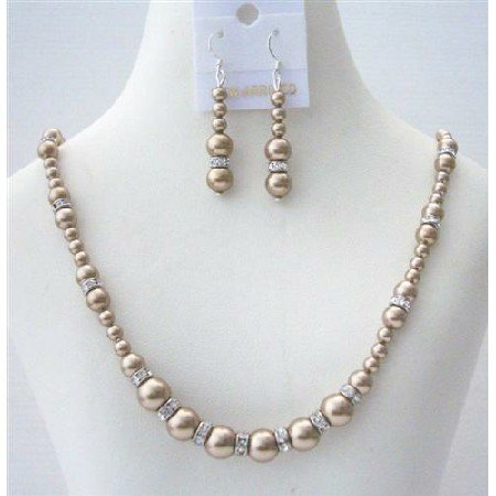 BRD495  Handcrafted Custom Bronze Pearls Jewelry Set Genuine Swarovski Bronze Pearls