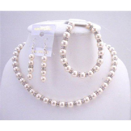 BRD557  Ivory Pearls Birdal Jewelry Genuine Swarovski Ivory Pearls w/ Sparkles Silver Rondells