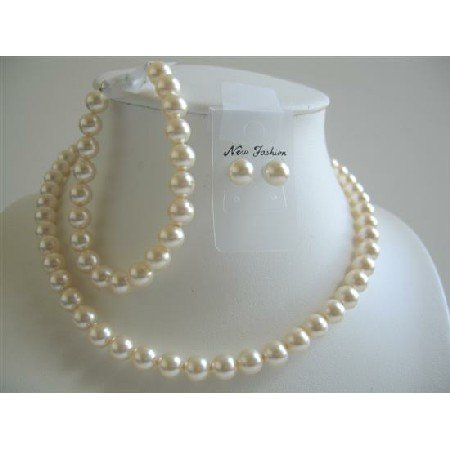 BRD599 Ivory Pearls 8mm Neckalce Earrings Bracelet Complete Set Bridal Swarovski Pearls Jewelry