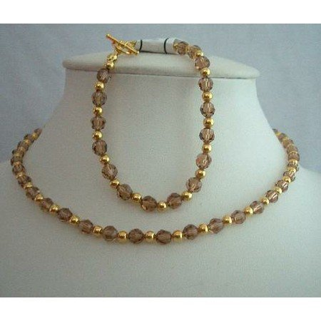 BRD306  Genuine Crystals Smoked Topaz & 22k Gold Plated Beads Necklace & Bracelet