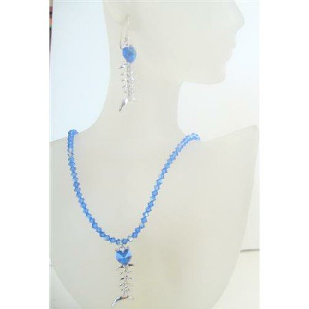 NSC497  Swarovski AB Sapphire Crystals w/ Sapphire Crystals Pendant Necklace Set