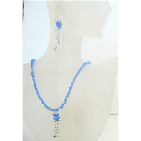 NSC497  Swarovski AB Sapphire Crystals w/ Sapphire Crystals Pendant Necklace Set