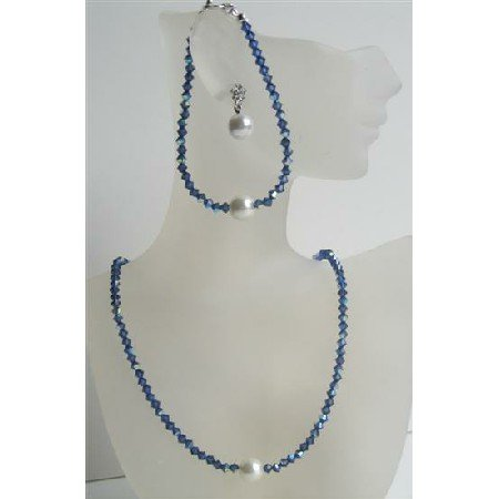 NSC427  Handcrafted Swarovski Crystals Jewelry Dark AB Sapphire Crystals w/ Pearls Stud Set