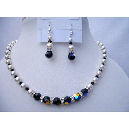 NSC378  Swarovski White Pearls w/ AB Jet SWarovski Crystals Jewelry Necklace Sets