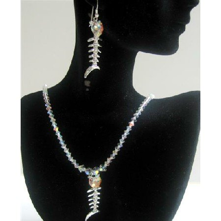 NSC421  Genuine AB Crystals Swarovski AB Crystals Pendant Necklace Set