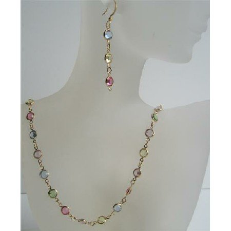 NSC424  Multi Colroed Swarovski Cyrstal Handmade Jewelry w/ 22k Gold Plated Necklace & Earrings