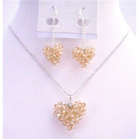 NSC668  Sparkling Genuine Swarovski Golden Shadow Puffy Crystals Heart Necklace