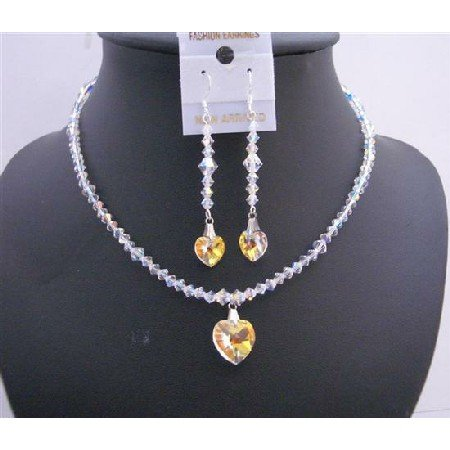 NSC553  AB Swarovski AB Crystals Heart Pendant & Earrings Genuine Swarovski AB Crystals Jewelry