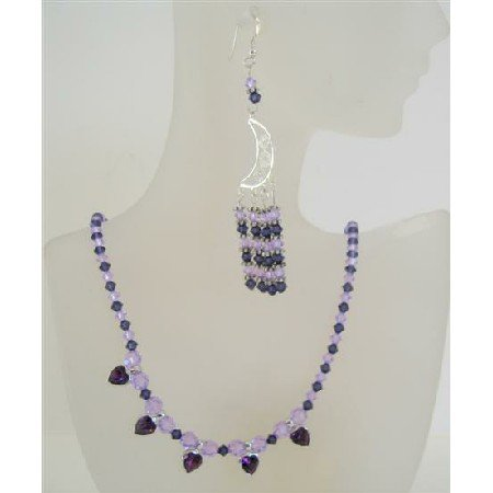 NSC440  Swarovski Crystals Voilet And Purple Genuine Crystals w/ Bali Silver Heart Pendant Necklace